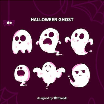 Flat halloween ghost collection with cobweb and spider