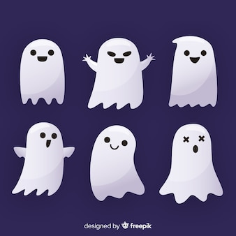 Flat halloween ghost collection