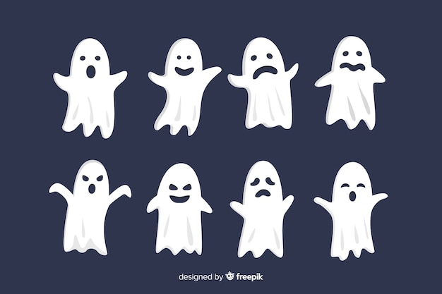 Flat halloween ghost faces collection