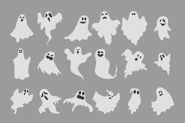 Flat halloween ghosts collection