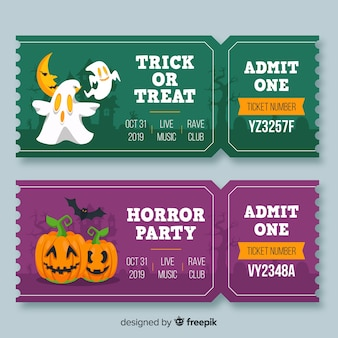 Flat halloween ghosts and pumpkin tickets