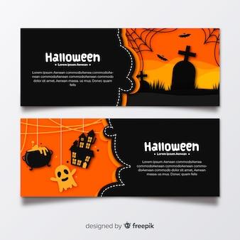 Flat halloween graveyard banners