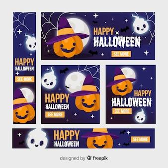 Flat halloween happy pumpkin with hat banner