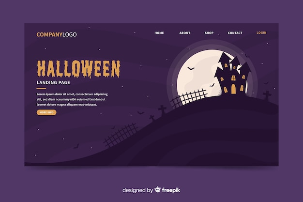 Flat halloween haunted house landing page