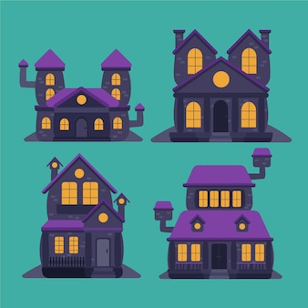 Flat halloween haunted houses collection