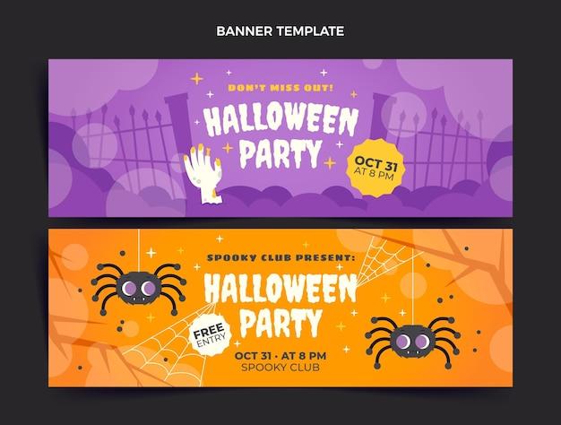 Flat halloween horizontal banners set