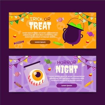 Набор плоских горизонтальных баннеров на хэллоуин