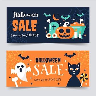 Flat halloween horizontal sale banners set