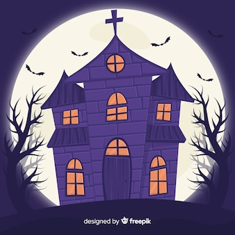 Flat halloween house and full moon behind it