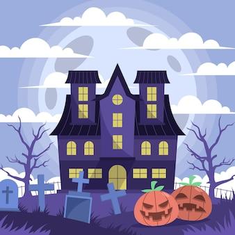 Flat halloween house illustration