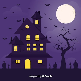 Flat halloween house with full moon