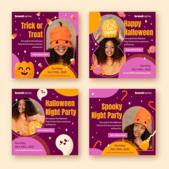 Flat halloween instagram posts collection with photo