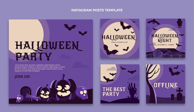 Flat halloween instagram posts collection
