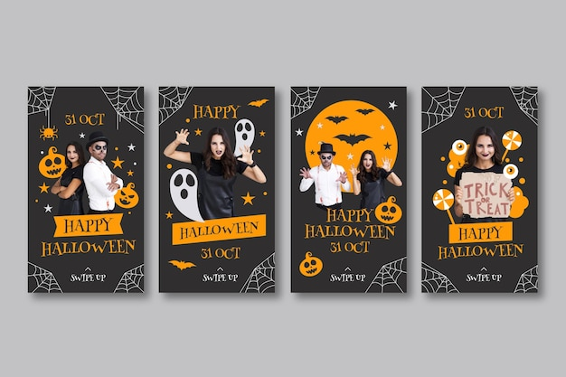 Flat halloween instagram stories collection with photo