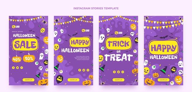 Flat halloween instagram stories collection