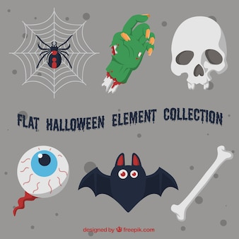 Flat halloween items selection