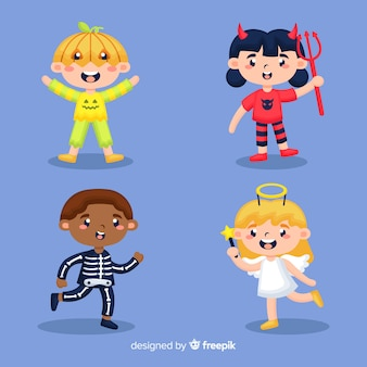Flat halloween kid collection on blue background