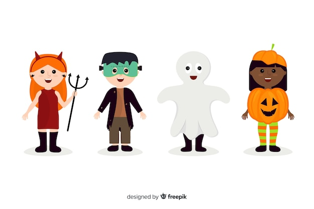 Flat halloween kid collection on white background