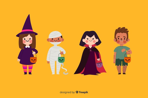 Flat halloween kid collection on yellow background