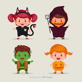 Flat halloween kid collection