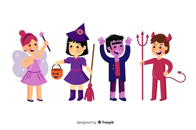 Flat halloween kid collection