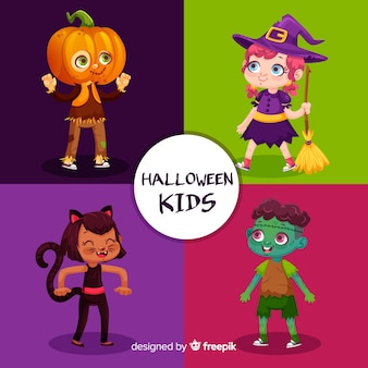 Flat halloween kids character pack