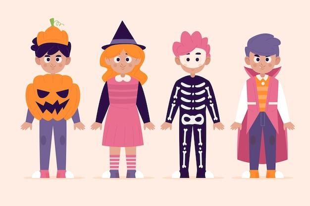 Плоская детская коллекция хэллоуина