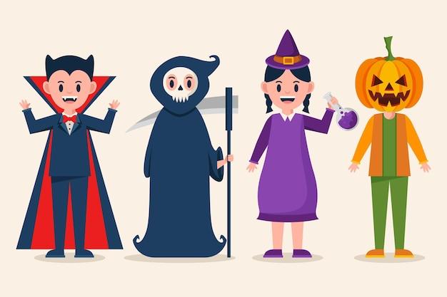 Flat halloween kids collection