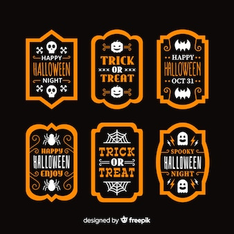 Flat halloween label and badge collection