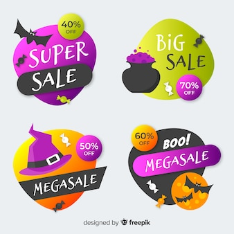 Flat halloween label and badge guitar pick style collection
