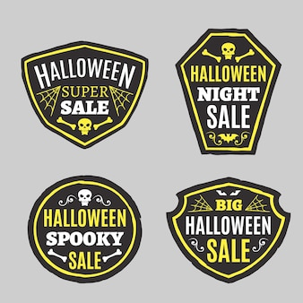 Плоская коллекция этикеток хэллоуина
