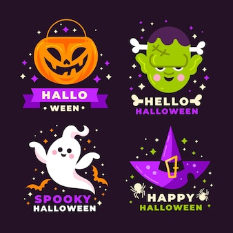 Flat halloween labels collection