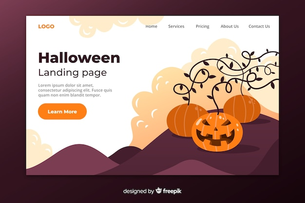 Flat halloween landing page and pumpkin
