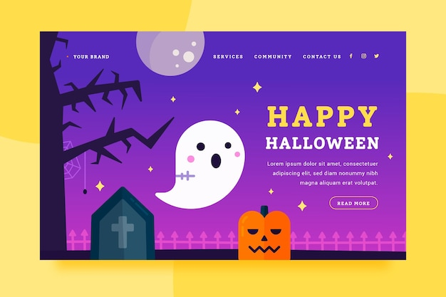 Flat halloween landing page template