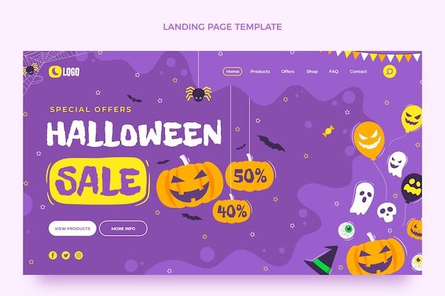 Modello di pagina di destinazione di halloween piatto