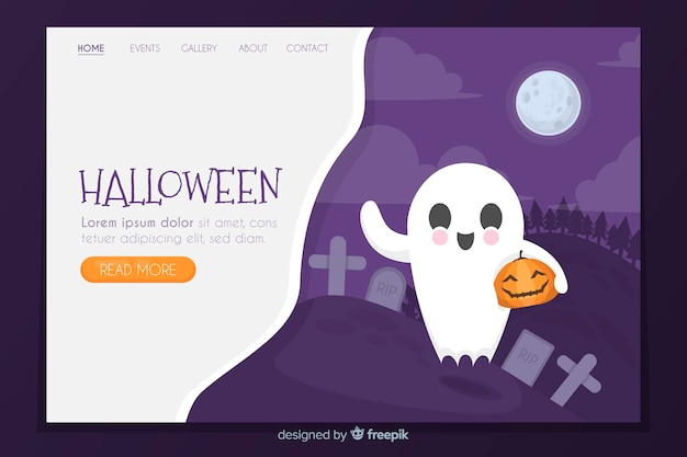 Flat halloween landing page with ghost