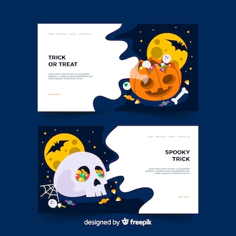 Flat halloween landing page with pumpkin and skull