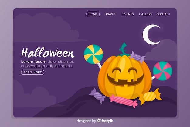 Flat halloween landing page with pumpkin