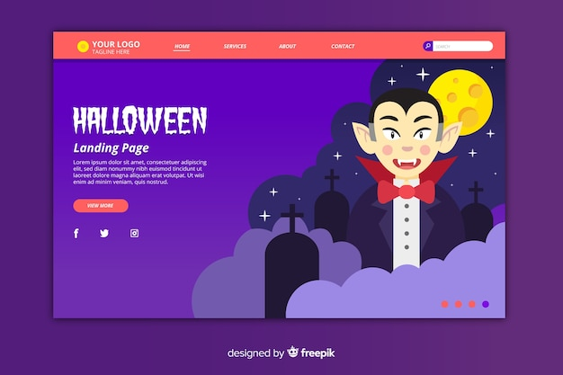 Flat halloween landing page with vampire in the night