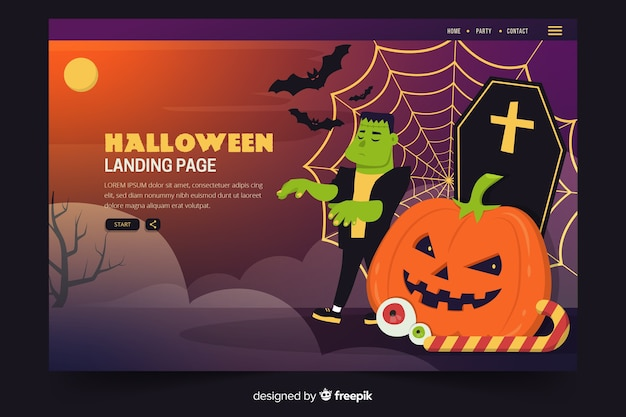 Flat halloween landing page with zombie and tombstones