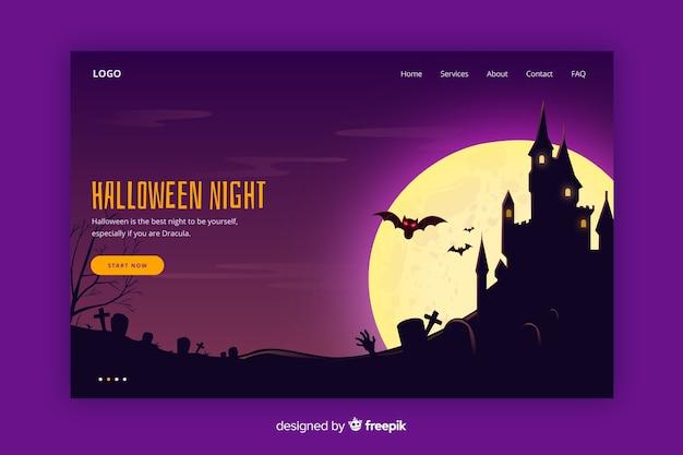 Flat halloween landing page