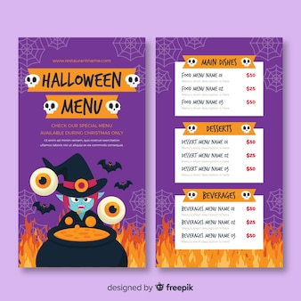 Flat halloween melting pot menu template