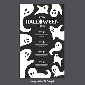 Flat halloween menu template with ghosts