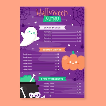 Flat halloween menu template
