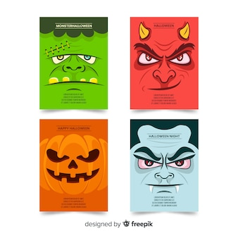 Flat halloween monsters card collection