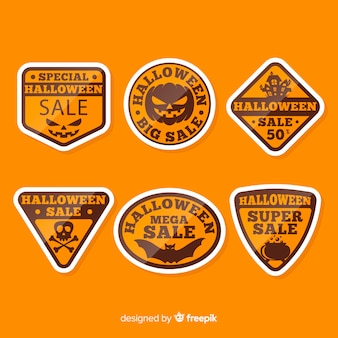 Flat halloween orange design labels