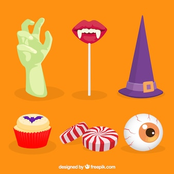 Elementi di festa di halloween piatti