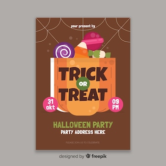 Flat halloween party flyer template