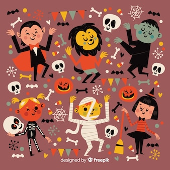 Flat halloween party night collection