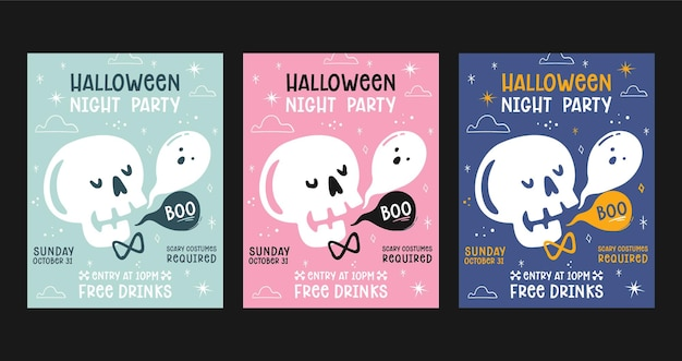 Set di poster per feste di halloween piatto